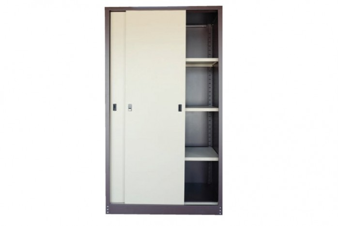 Full Height Cupboard w Steel Sliding Door c/w 3 Adjustable Shelf