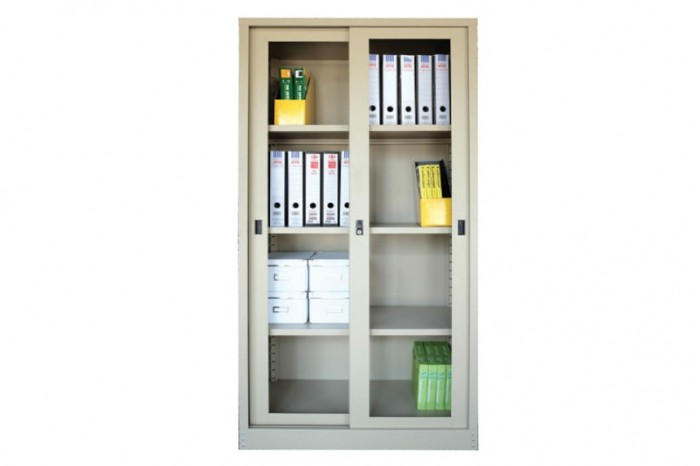 Full Height Cupboard with Glass Sliding Door c/w 3 Adjustable Shelf