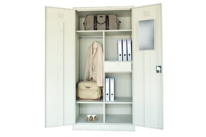 Full Height Cupboard with Steel Swinging Door c/w 3 Shelves, 1 Drawer, 1 H.Bar & 1 Mirror