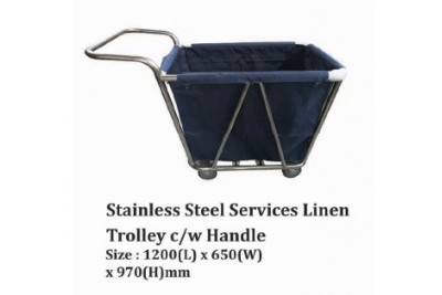 Stainless Steel Services Linen Trolley c/w Handle