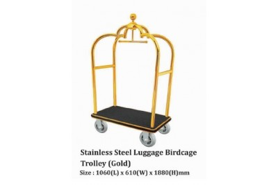 Stainless Steel Luggage Birdcage Trolley (Gold)