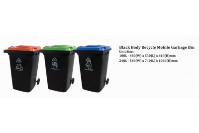 Black Body Recycle Mobile Garbage Bin