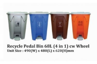 Recycle Pedal Bin 68L (4 in 1)