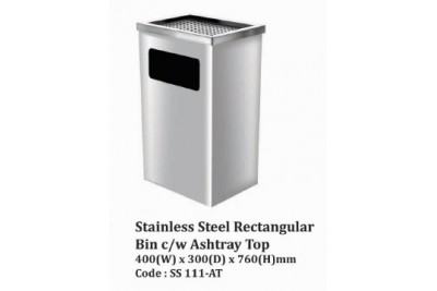 Stainless Steel Rectangular Bin c/w Ashtray Top