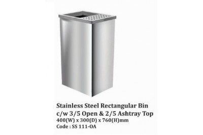 Stainless Steel Rectangular Bin c/w 3/5 Open & 2/5 Ashtray Top
