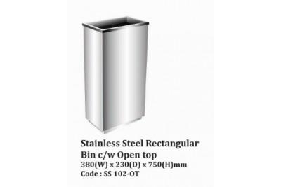 Stainless Steel Rectangular Bin c/w Open Top