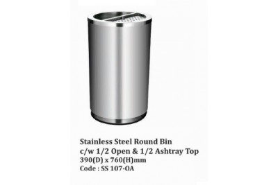 Stainless Steel Round Bin c/w 1/2 Open & 1/2 Ashtray Top