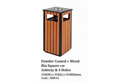 Powder Coated + Wood Bin Square cw Ashtray
