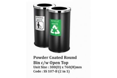 Powder Coated Round Bin c/w Open Top