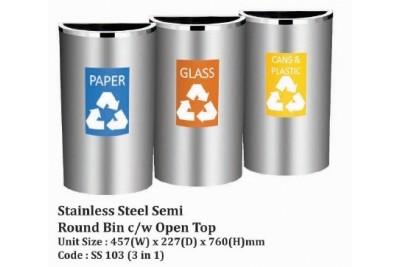Stainless Steel Semi Round Bin c/w Open Top