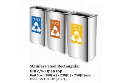 Stainless Steel Rectangular Bin c/w Open Top