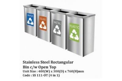 Stainless Steel Square Bin c/w Open Top
