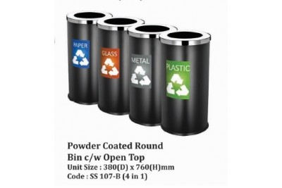 Powder Coated Round Bin c/w Open Top