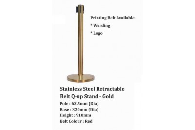 Stainless Steel Retractable Belt Q-up Stand - Gold