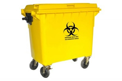 Biohazard Mobile Garbage Bin 4-Wheel (660 liters)