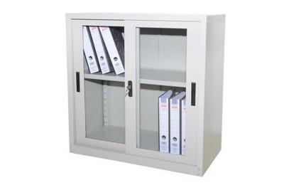 Half Height Cupboard w Glass Sliding Door c/w 1 Adj Shelf