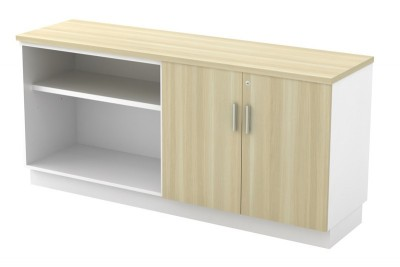 Open Shelf + Swinging Door Low Cabinet